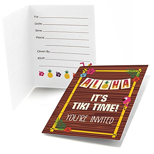 - Big Dot of Happiness Tiki Luau - Fill in Tropical Hawaiian Summer Party Invitations (8 Count)