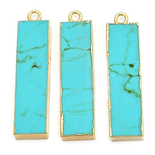 Elegantjewels 3 Pcs Gold Electroplated 30x8mm Turquoise Rectangle Single Bail Connector Pendant Rectangle Turquoise Pendant