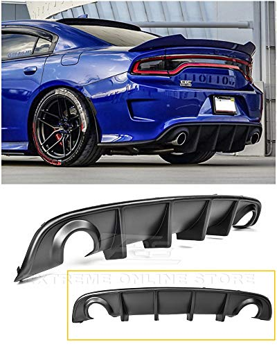 - Extreme Online Store Replacement for 2015-Present Dodge Charger | SRT Factory Style Rear Bumper Dual Exhaust Fascia Air Diffuser