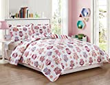 Dreamland Kids' Boys & Girls Twin Size Polyester Reversible 2pc Bedspread Quilt Coverlet & Pillow Sham (Cute Owl)