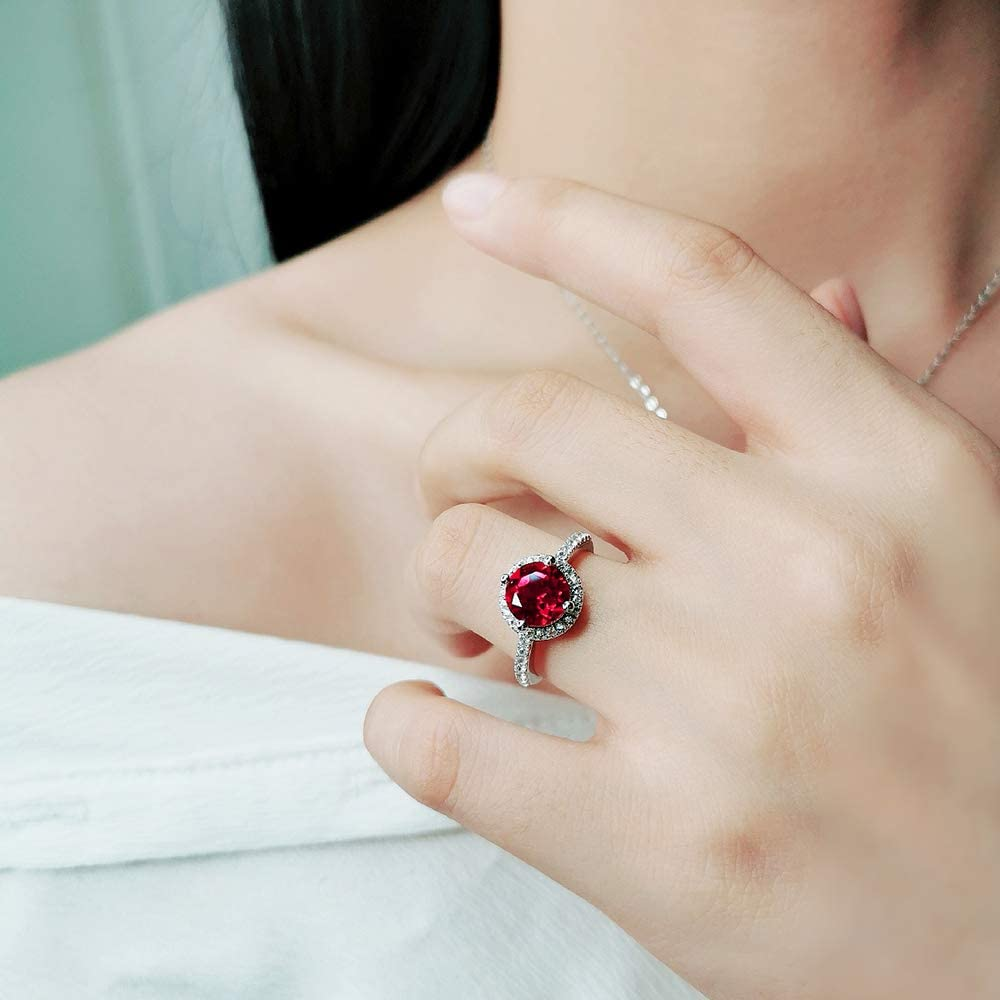 ATTA GEMS Womens Anniversary Wedding Ring Round 8mm Ruby ...
