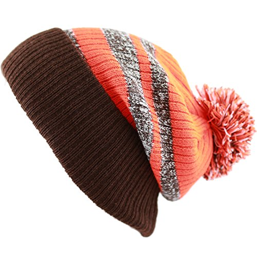 The Hat Depot Striped Cuffed Knit Beanie Winter Hat with Pom (Brown-Orange) (Brown Striped Beanie)