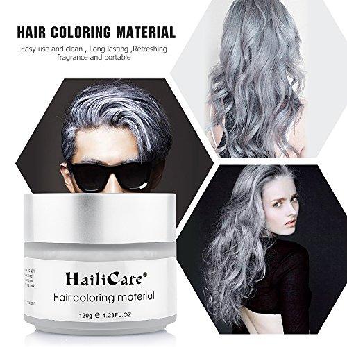 HailiCare Silver Grey Hair Wax 4.23 oz, Professional Hair Pomades, Natural Silver Ash Matte Hairstyle Wax for Men Women