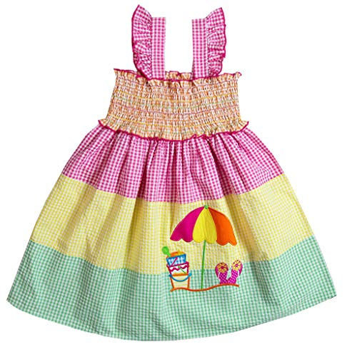 Good Lad Toddler to 4/6X Girls Multi-Striped Seersucker Sundress with Beach Scene Applique (6X) Yellow