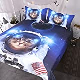 BlessLiving Funny Space Cat Bed Set 3 Piece Astronaut Pet Bedspread Teens Kids Blue Galaxy Bedding Star Universe Duvet Cover (Full)