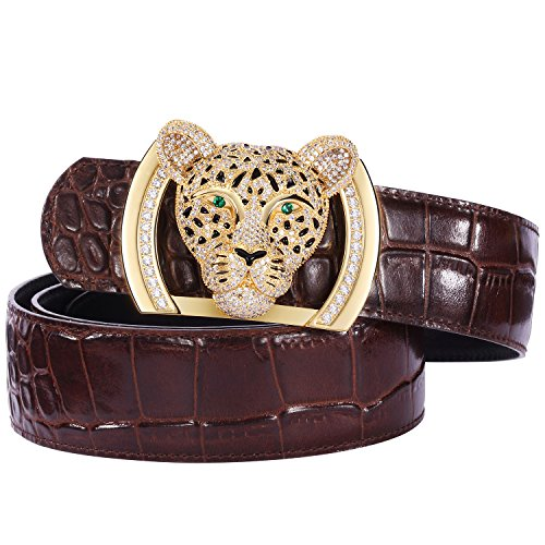 Men's Belts Luxury Genuine Leather Brown Reversible Dress Belt for Men Plaque Buckle Alligator (Leopard Skin Belt)
