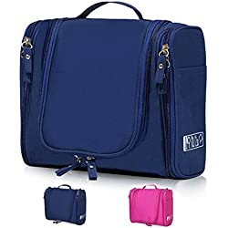 Hanging Toiletry Bag Travel Cosmetic Kit - Large Essentials Organizer - Sturdy Hook Makeup bag - Heavy Duty Waterproof for Men and Womens (Navy Blue)