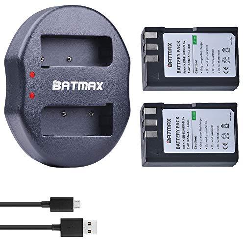 Batmax EN-EL9 Battery(2-Pack) and Compact USB Dual Charger for Nikon EN-EL9, EN-EL9a and Nikon D40 D40x D60 D3000 D5000 Cameras