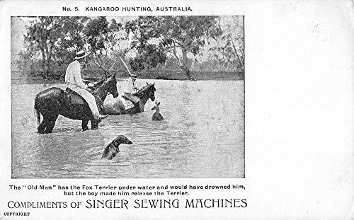(Australia Kangaroo hunting by Singer Sewing Machines antique pc ZA440598)