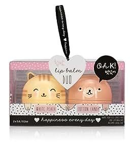 Oh K! Korean Cat and Bear Lip Balms, 2 Piece, White Peach/Cotton Candy