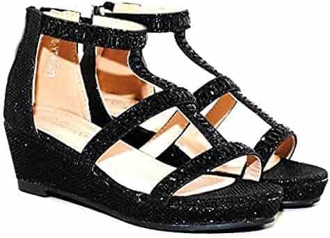 0fe46155388 TRENDSup Collection Christy-8 Kids Fashion Girls Sparkle Rhinestones  Platform Wedge Dress Sandals Shoes