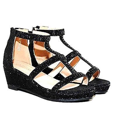 8df72961f61a TRENDSup Collection Christy-8 Kids Fashion Girls Sparkle Rhinestones  Platform Wedge Dress Sandals Shoes (