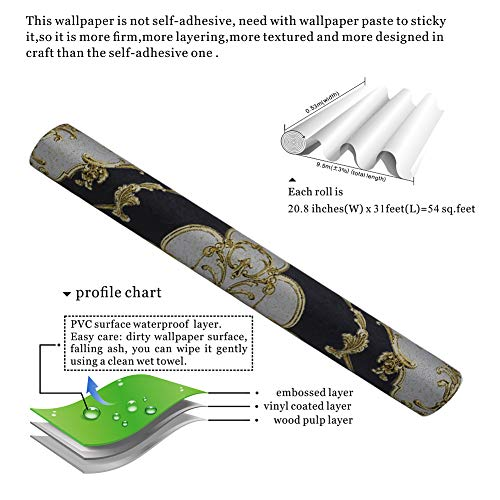 JZ27 Luxury Damask Wallpaper Rolls, Black/Gold/Silver Embossed Texture Victorian Wall Paper Home Bedroom Living Room Hotels Wall Decoration 20.8''x 31ft by JZHOME (Image #5)