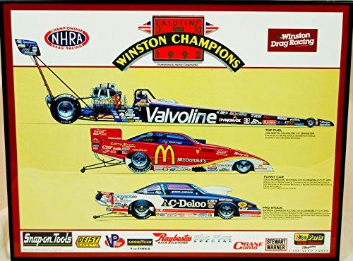 (1992 - Express Litho - NHRA / Winston Drag Racing - Saluting the Winston Champions of 1992 - Artist Hector Cademartori - T/ F Champ: Joe Amatol / Funny Car: Cruz Pedregon / Pro Stock: Warren Johnson - Framed Print - 22x28 Inches - OOP - Like New - Very Rare - Collectible)