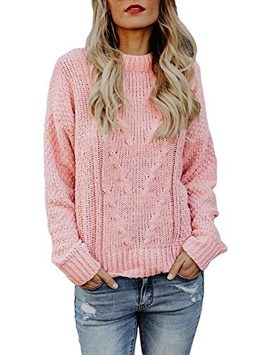 Beautife Womens Oversized Crewneck Sweaters Causal Long Sleeve Cable Knit Chunky Heart (Sleeve Crewneck Cable)