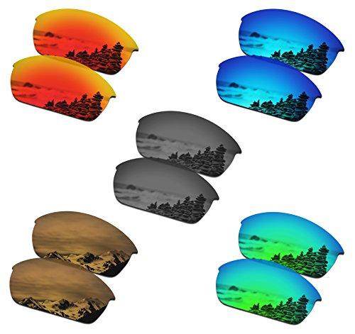 SmartVLT Set of 5 Men's Replacement Lenses for Oakley Flak Jacket Sunglass Combo Pack S02 ()