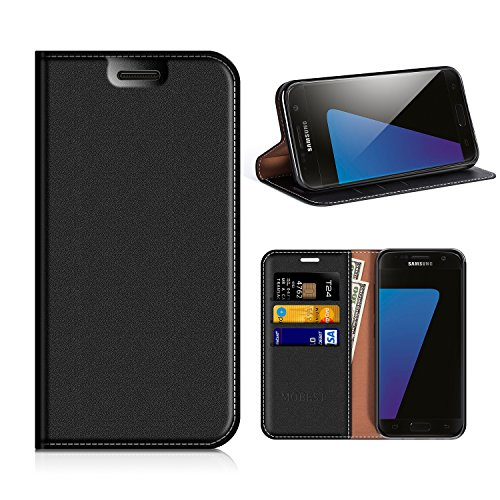 (Samsung Galaxy S7 Wallet Case, Mobesv Samsung S7 Leather Case/Phone Flip Book Cover/Viewing Stand/Card Holder for Samsung Galaxy S7, Black)