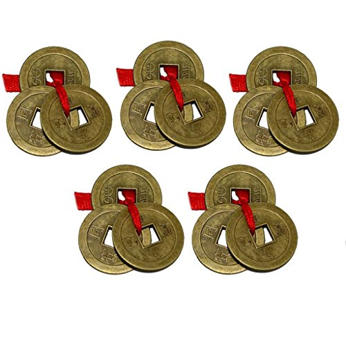 Divya Mantra Chinese Feng Shui Antique Fortune I-Ching Coin Ornaments for Good Luck, Success & Prosperity/Ancient Tibetan Buddhist Wealth Charm Amulet Coins w/ Hole & Red Knot – Brown, Set of 5 ()