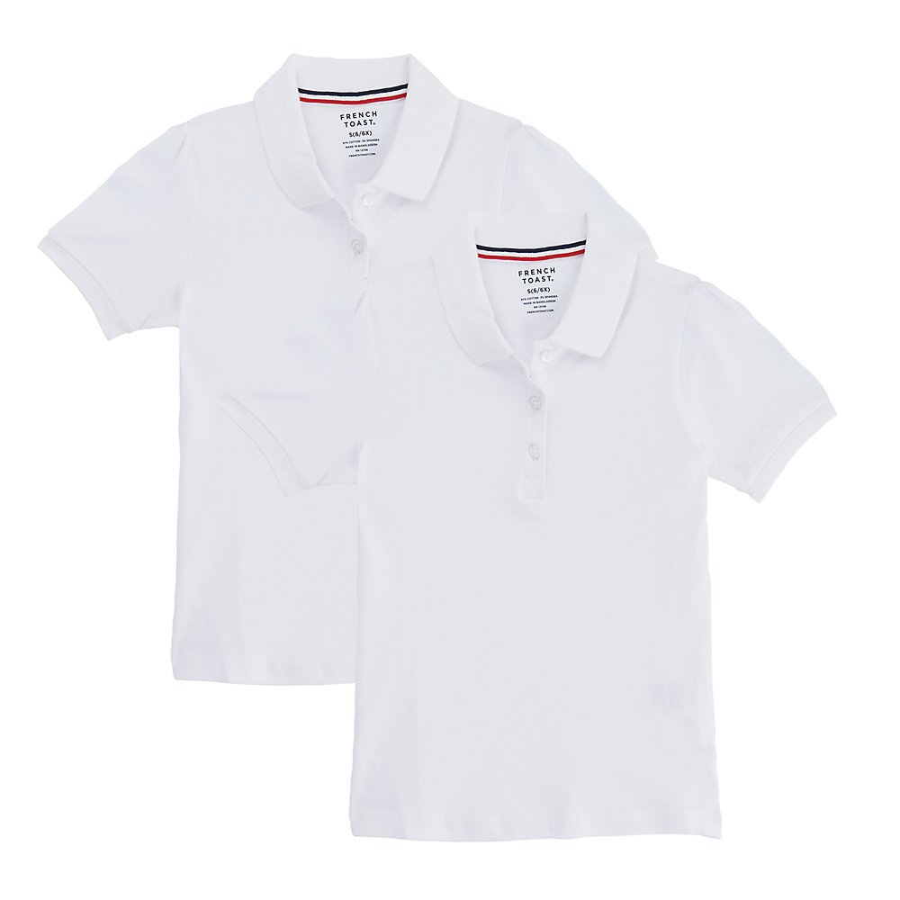 French Toast Little Girls' Short Sleeve Stretch Pique Polo-2 Pack, White, S (6/6X)