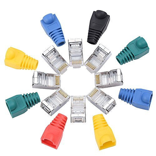 100 pcs Shielded RJ45 connector with Boots Cover (Mixed Color), CAT5E CAT5 Crimp Ethernet Connector STP 8P8C Modular Crystal Head Plugs with Strain Relief Boot Plug Cover (One Modular Plug)