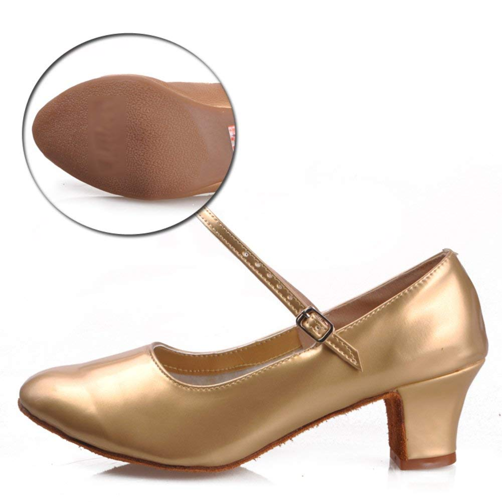 Fuxitoggo Lateinamerikanische Tanzschuhe der Frauen Frauen Frauen mittlere Heels Gummisohlen-Platz-Sozialtanzschuhe (Farbe   Golden Größe   Foot Length=23.8CM9.4Inch) ff464e
