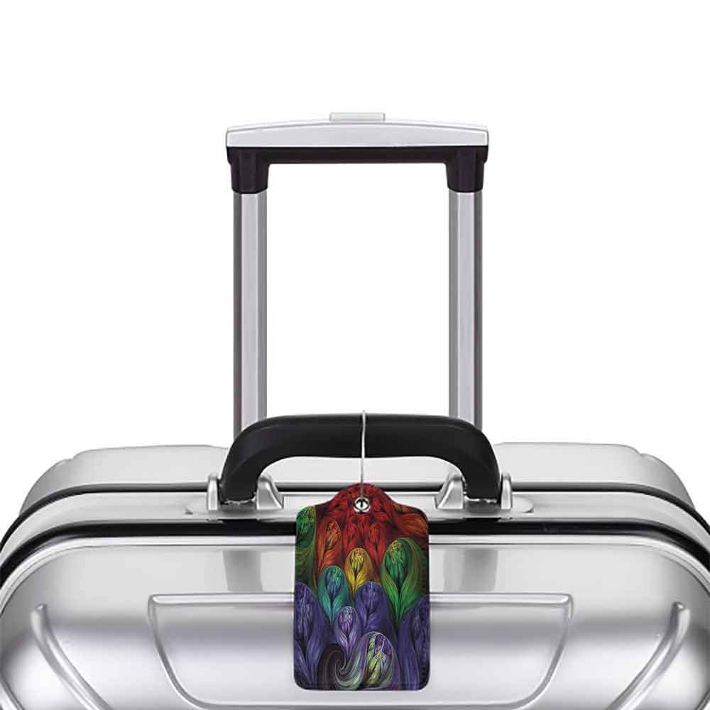 Small luggage tag Fractal Computer Generated Surreal Colorful Forms Modern Bohemian Fusion Creative Art Design Quickly find the suitcase Multi W2.7 x L4.6