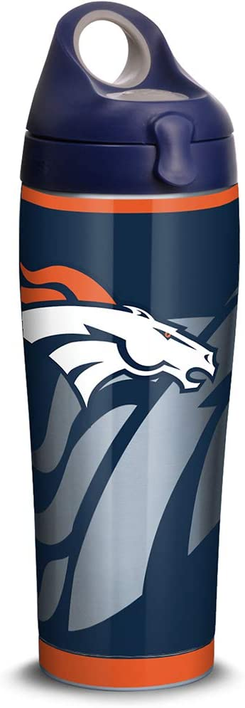 Tervis NFL Denver Broncos Rush Stainless Steel Insulated Tumbler with Navy with Gray Lid, 24oz Water Bottle, Silver