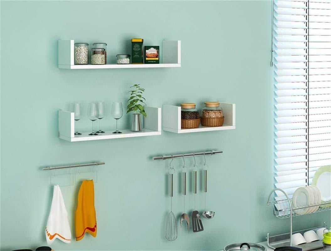 Madera DM, Profundidad 14 cm, 50//40//30 cm Tebery Juego de 3 estantes flotantes para Pared Color Blanco