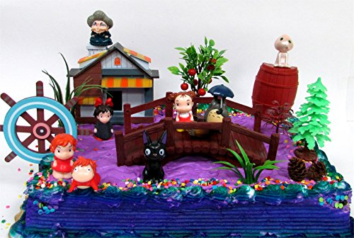 15-Piece-ANIME-Studio-Ghibli-Themed-Birthday-Cake-Topper-Set-Featuring-Ponyo-Yubaba-Jiji-Kodoma-and-Decorative-Themed-Accessories