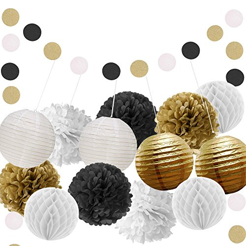 Paxcoo Black and Gold Party Decorations with Paper Pom Poms Lanterns for 18th, 21st, 30th, 40th, 50th, 60th, 75th, 80th (Table Decorations For 18th Birthday Party)