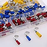 Glarks 140pcs 22-16/16-14/12-10 Gauge Semi-Insulated Piggy Back Spade Quick Splice Crimp Terminals Connectors Assortment Kit