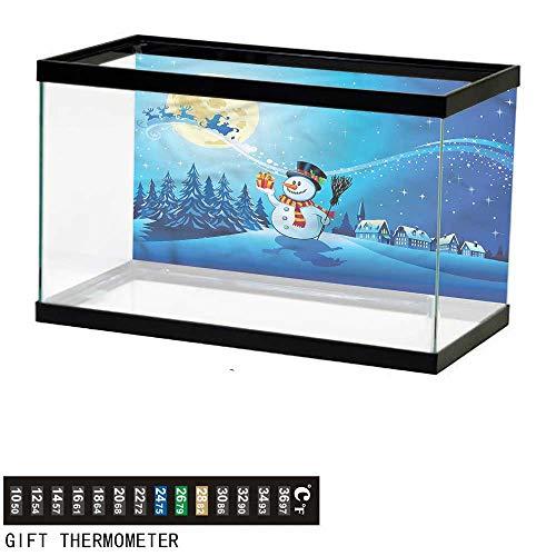 bybyhome Fish Tank Backdrop Christmas,Snowy Land Pines Moon,Aquarium Background,48