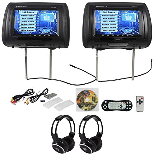 Rockville RDP931-BK 9 Black Car DVD/HDMI Headrest Monitors+2 Wireless Headsets