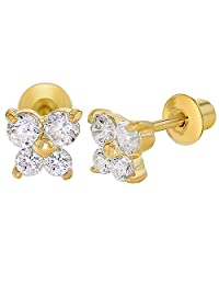 18k Gold Plated Clear Crystal Butterfly Infants Baby Screw Back Earrings 5mm