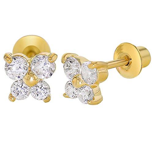 Boucles d'oreilles à vis plaqué or papillon en cristal transparent pour enfants 5mm 18K