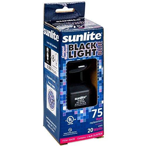 Sunlite SL220 BLB Spiral Energy Saving CFL Light Bulb Medium Base Blacklight, 20W, Blue (2 pack)