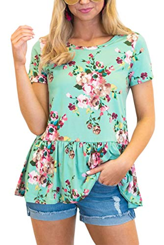 Women Cotton Pleated T Shirt Flowy Summer Loose Patriotic Short Sleeve Tunic Top Floral ()