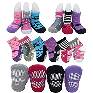 6 Pairs Non Skid Dress Socks Toddler Baby Girls Multicolored Pre Walking Socks Ankle Slippers Shoe Socks for 12-24 Months