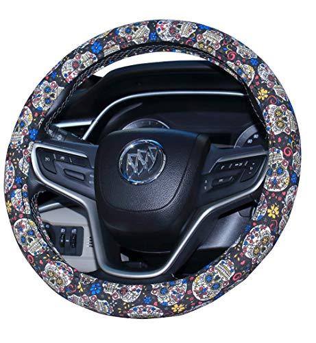 (Amuahua Automotive Women Handmade Embroidery Cute 15 inch Car Steering Wheel Cover(Sugar Skull Day))