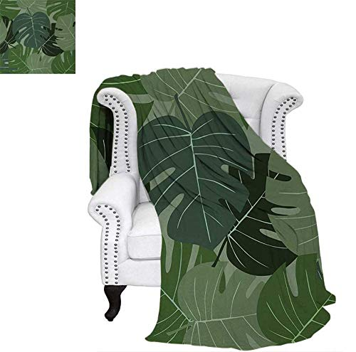Lightweight Blanket Camouflage Pattern of Palm Leaves Tropical Nature Themed Foliage Digital Printing Blanket 60