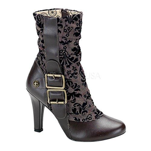 Demonia Women's Steampunk Tweed Calf Boot (Brown PU;6) ()