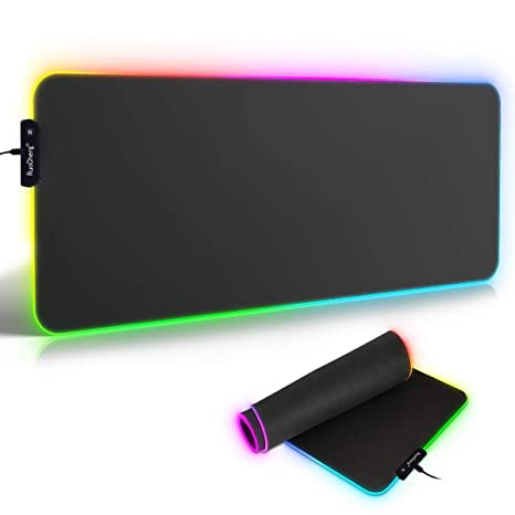 RGB Mauspad 780 x 300 mm Gaming Mouse Mat mit 7 LED Farben 10 Beleuchtungs-Modi Mouse Pad Schreibtischunterlage Wasserdicht A