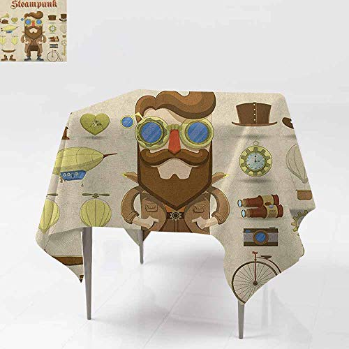 DUCKIL Decorative Textured Fabric Tablecloth Cartoon Style Male Character and Vintage Mechanical Elements Hipster Gentleman for Kitchen Dinning Tabletop Decoration W63 xL63 Multicolor]()