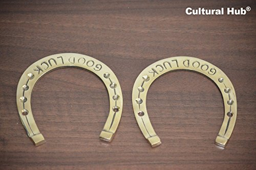 Good Luck Items (Cultural Hub ® J92-70-0024 Lovely Ornate Brass Vintage Good Luck Horseshoe, Horseshoe Good Luck Paperweight, Brass Horse Shoe Naal Good Luck, Fengshui, Rustic Finish, Antique Look, Vintage Brass Item, Collectible)