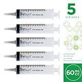 60ml Catheter Tip Disposable Syringe with Covers - 5 Sterile Syringes by Care Touch