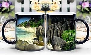 LeeQueen Magic Mug - Heat Sensitive Color Changing Coffee Cup - Tropical beach Magically Appear- Best Creative Gift Choice