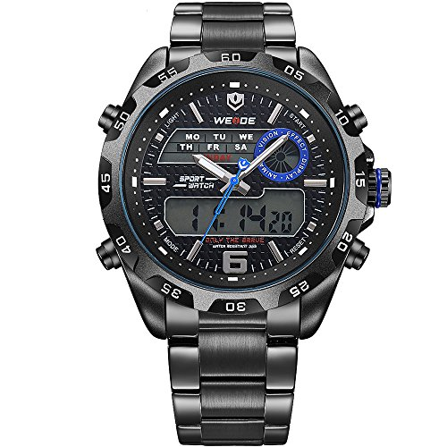 Diving Digital Analog (WEIDE Men's Multiple Functional Analog Digital Watches 3ATM Waterproof Black and Blue Stainless Steel Band Outdoor Sports Watch)