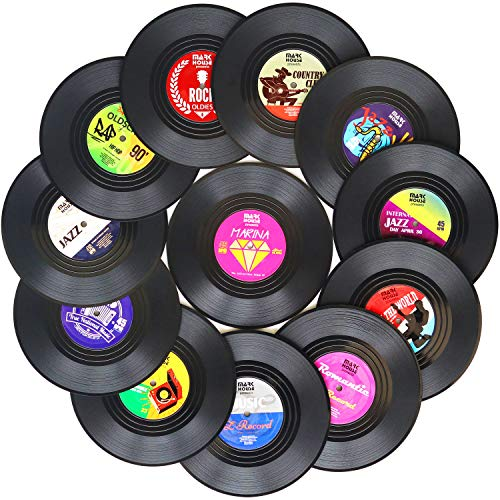 Funny Coasters for Drinks | Set of 12 Vinyl Records Disk Music Lover Drink Coaster Conversation | Housewarming Hostess Gifts, Unique House Warming Present Decor Decorations Wedding Registry Gift Ideas (Ideas Christmas Lovers Music)