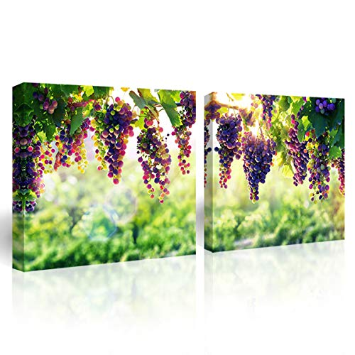 Purple Verbena Art Canvas Print Painting of Fruit Green Leaves Picture Wall Art Purple Grape Nature Landscape Photo Gift Home Decoration for Living Room Bedroom Artwork-Framed 12x12 Inches x 2Pcs
