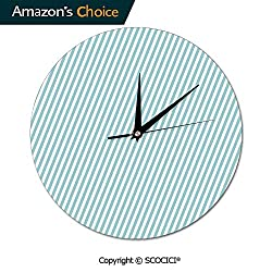 SCOCICI 10 Inch Round Wall Clock Soft Colored Skewed Bold Stripes Lined Contemporary Movement Silent Non-Ticking for Kitchen Study Office Room Decorations